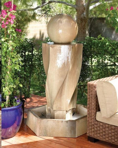 Vortex With Ball Outdoor Water Fountain - Outdoor Art Pros