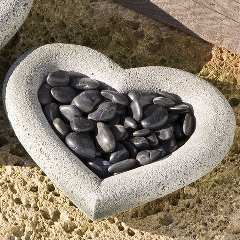 Small Heart Shell Cast Stone Birdbath - Outdoor Art Pros