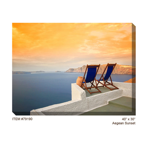 Aegean Sunset Outdoor Canvas Art - Outdoor Art Pros