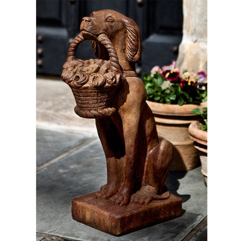Vintage Dog With Basket Cast Stone Garden Statue - Outdoor Art Pros