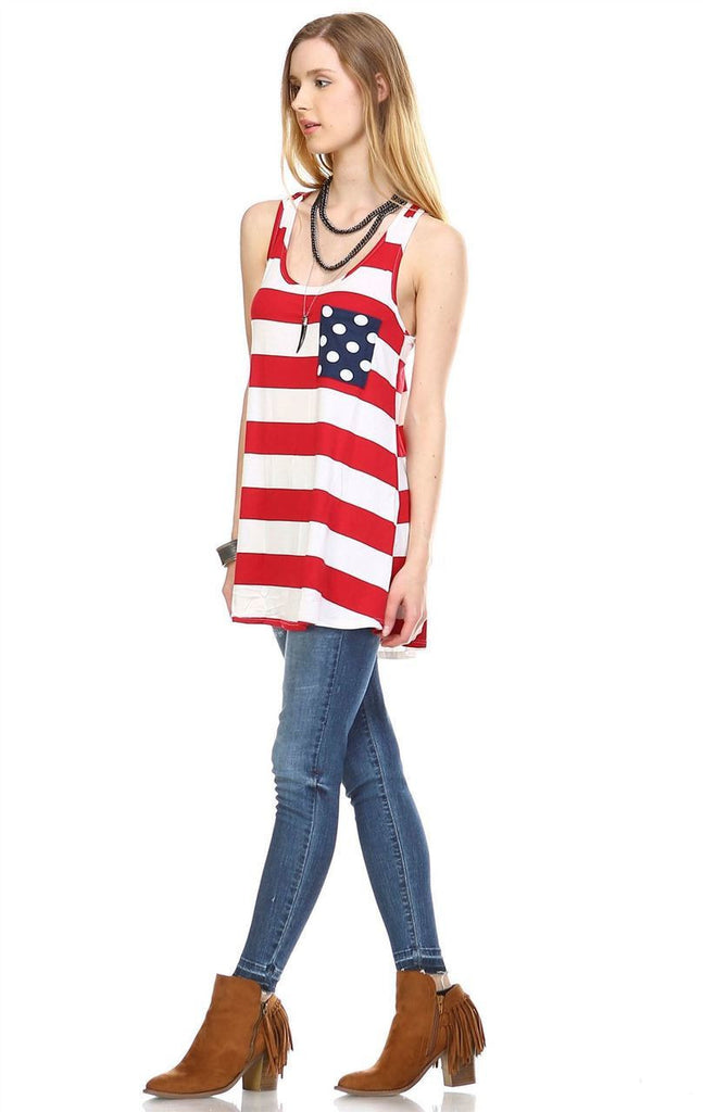 Red Stripe Tank Top with Navy Polka Dot Pocket