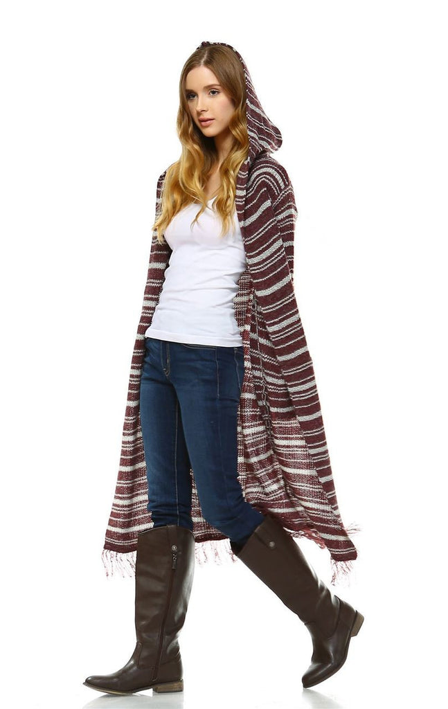 Long Cardigan Sweater Striped with Hoodie Hood Burgundy