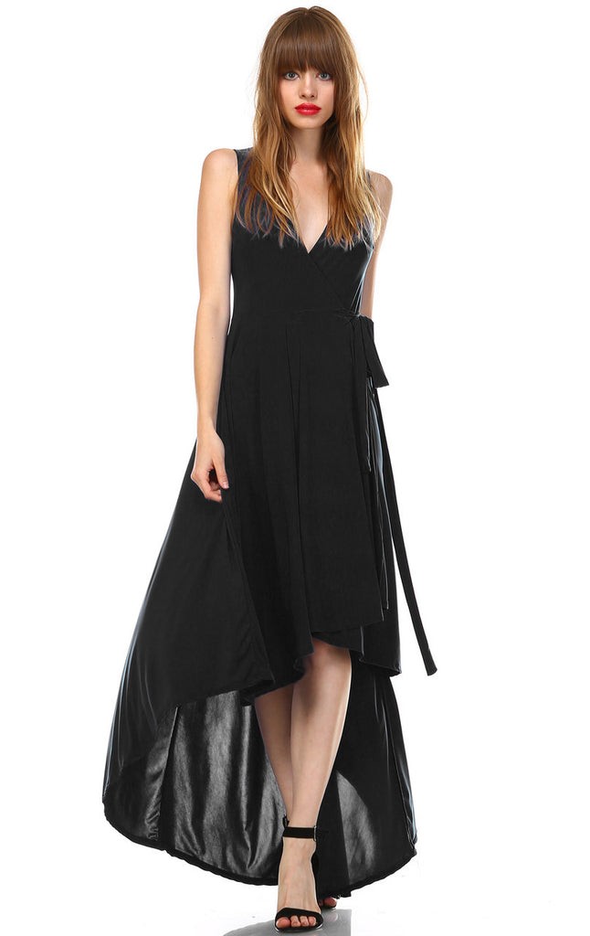 Lycra Sleeveless V-Neck Plunge Belt Hi Low Wrap Dress Black