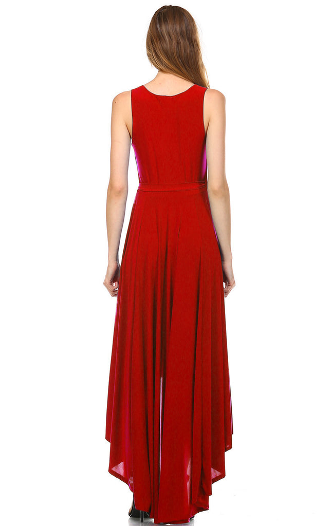 Lycra Sleeveless V-Neck Plunge Belt Hi Low Wrap Dress Red