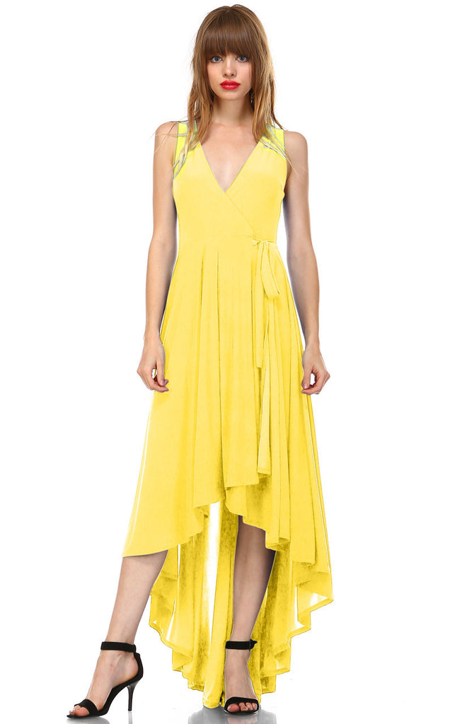 Lycra Sleeveless V-Neck Plunge Belt Hi Low Wrap Dress Yellow