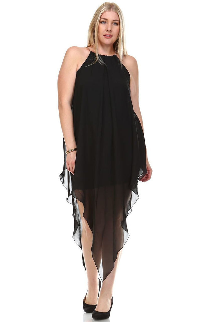 Plus Size Cocktail Dress Asymmetrical Hem with Gold Chains Black