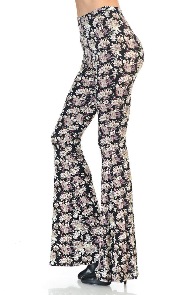 Bell Bottoms Yoga Pants Daisy Floral Pink Black Print
