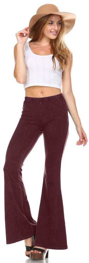 Bell Bottoms Yoga Pants Denim Colored Burgundy