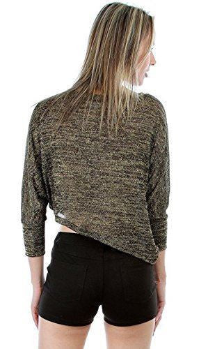 Womens Black Gold Grey Knit Mid Rise Sequin Shirt