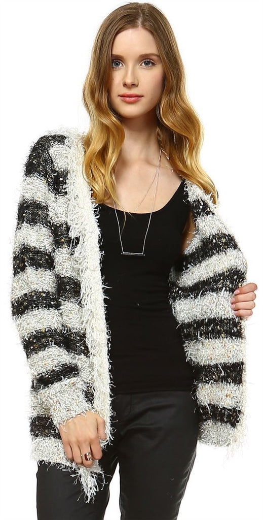 Fuzzy Cardigan Sweater Open Front Closure Black White
