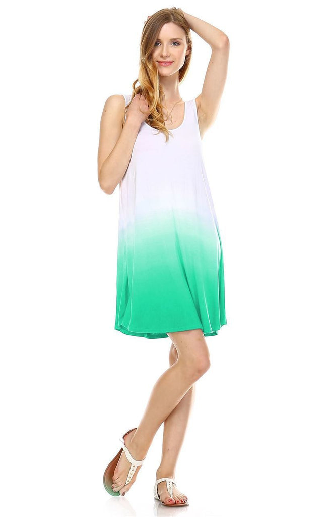 Dip Tie Dye Dress Tank Sleeveless Mini Dresses Seafoam Green White