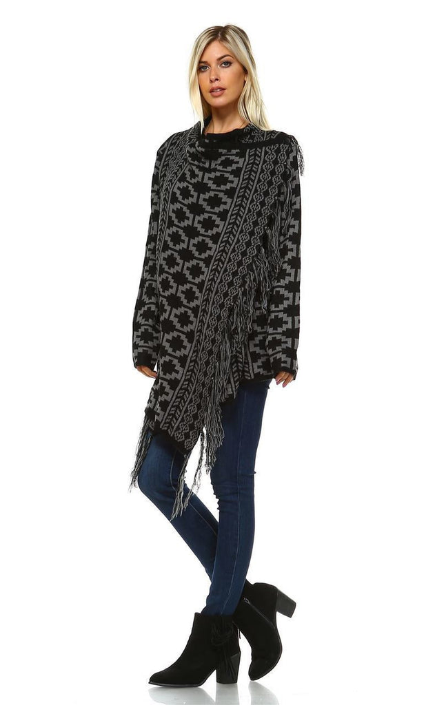 Cowl Aztec Cardigan Tribal Sweater Ponchos Geo Black Gray