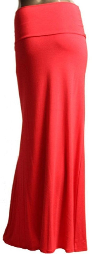 Solid Light Salmon Foldover Maxi Skirt