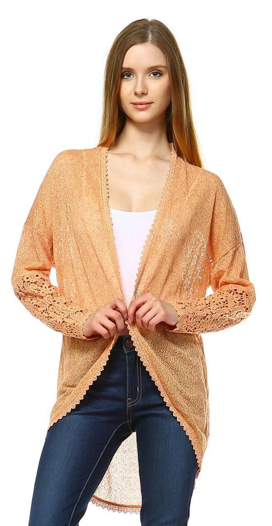 Lace Cardigans Crochet and Knit Apricot