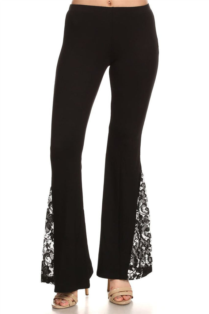 Bell Bottoms Yoga Pants Black Lace Detailed Flare