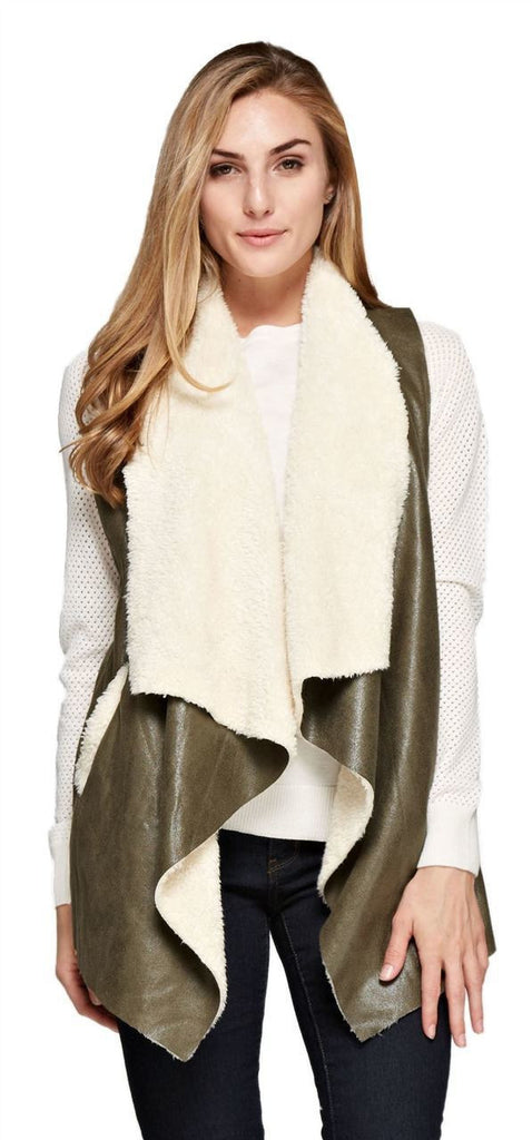 Shearling Faux Fur Vest with Suede and Pockets Olive