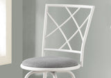 BARSTOOL - 2PCS / SWIVEL / WHITE / GREY FABRIC SEAT   MN-2377