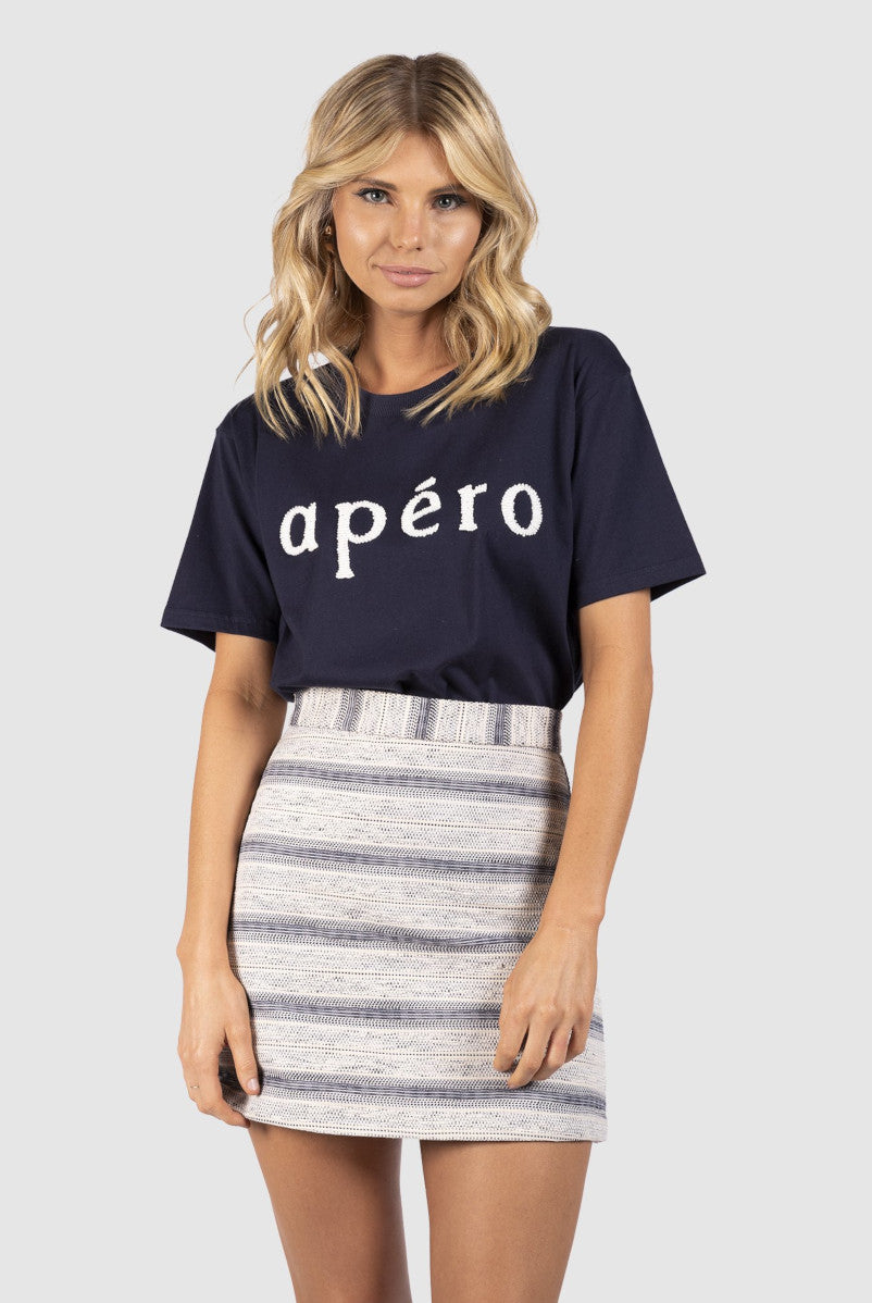 Apero Beaded Tee in Navy with White Bead