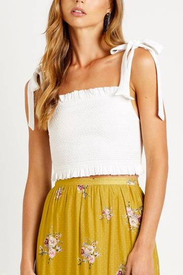 Steele boho white tie up crop
