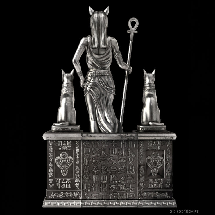Bastet: Goddess of Protection Silver Statue - Heads or Tales Coins & Collectibles
