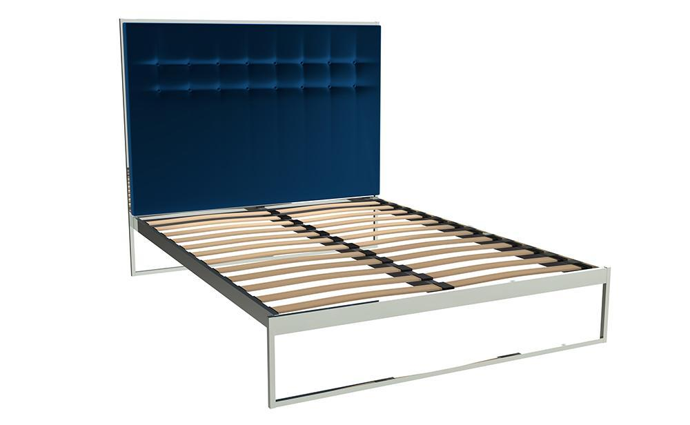 Federico Chrome & Blue Velvet Bed Frame With Headboard - Double