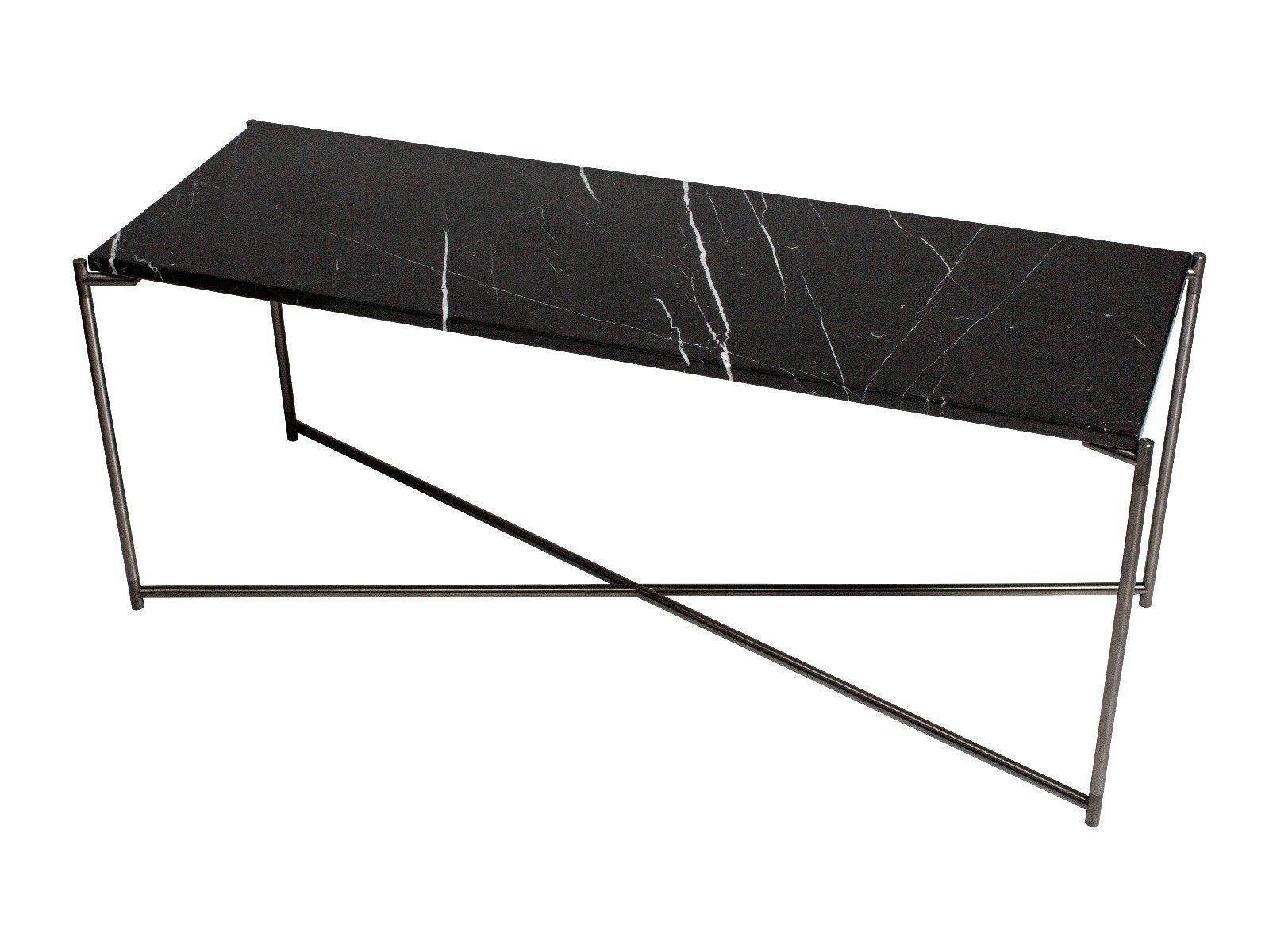 Large low Console table BLACK MARBLE with GUN METAL FRAME