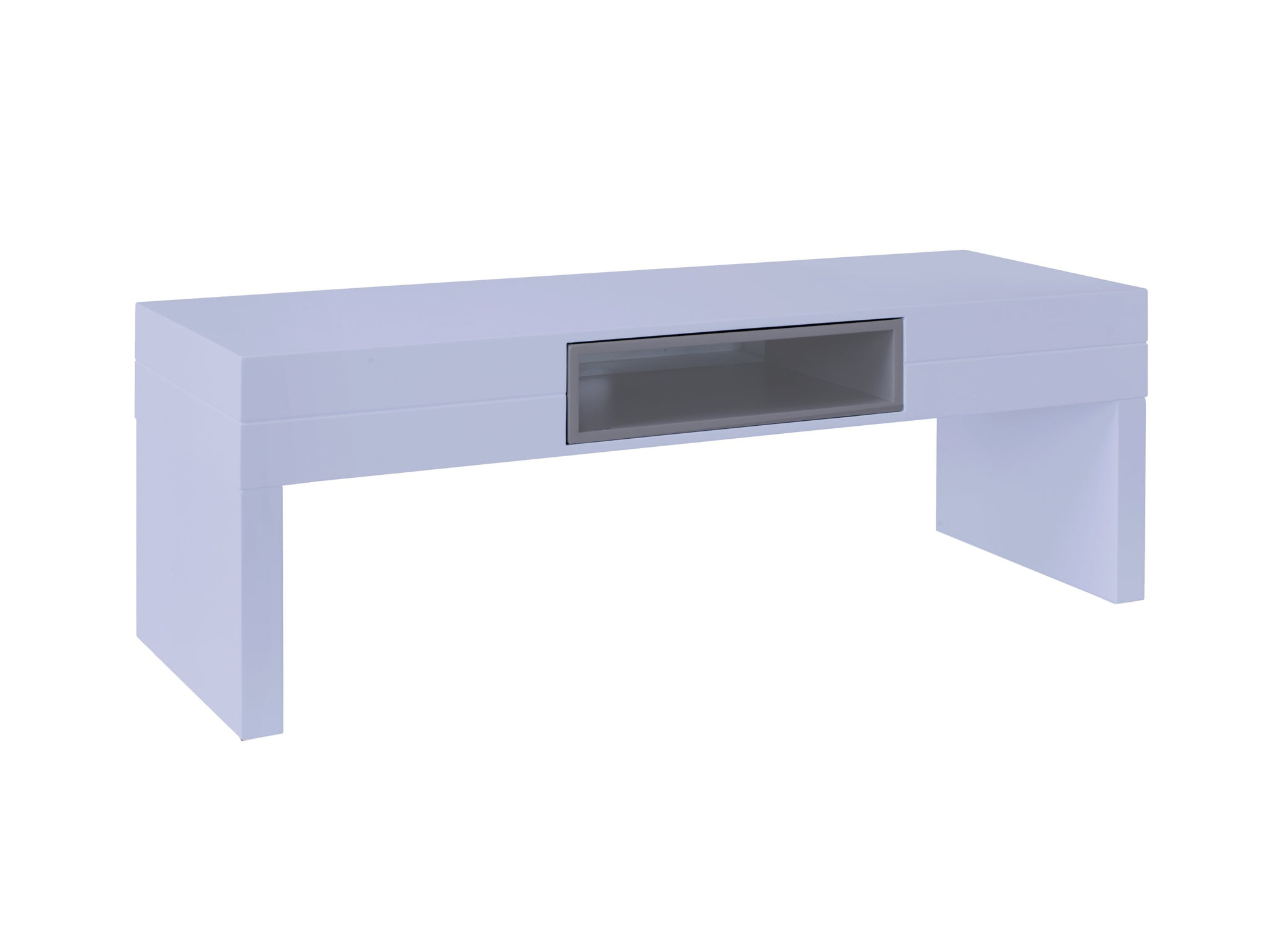 Low TV Table - Savoye WHITE with STONE  accent