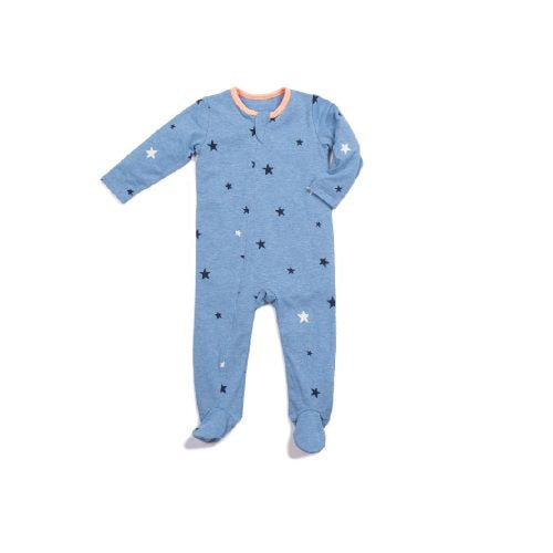 Classic Zipper Footie - Sky Blue Star - Blue Sage Baby + Kids