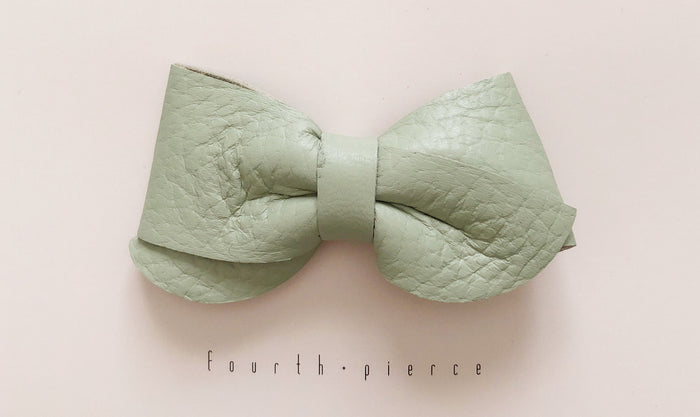 Emmie Leather Bow - Fresh - Blue Sage Baby + Kids