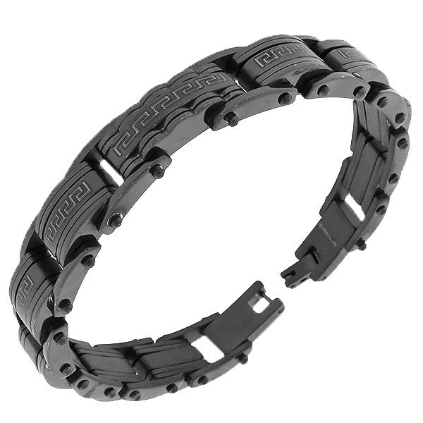 Stainless Steel Black Greek Key Men's Link Chain Bracelet