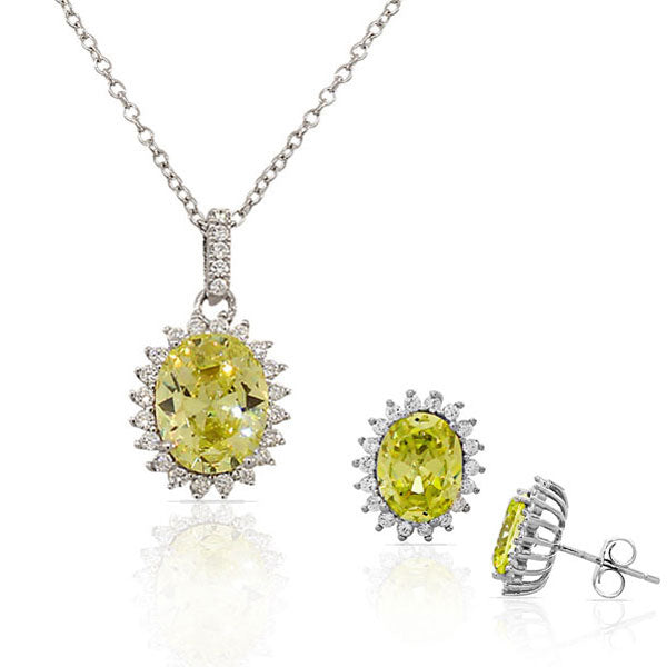 Yellow Citrine-Tone White CZ Oval Charm Necklace Stud Earrings Set
