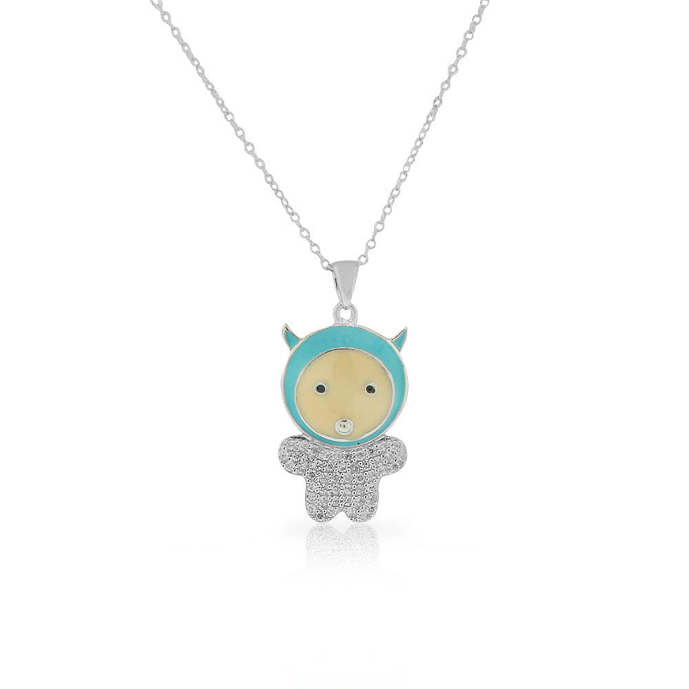 925 Sterling Silver Blue Enamel White Clear CZ Baby Boy Pendant Necklace, 18""
