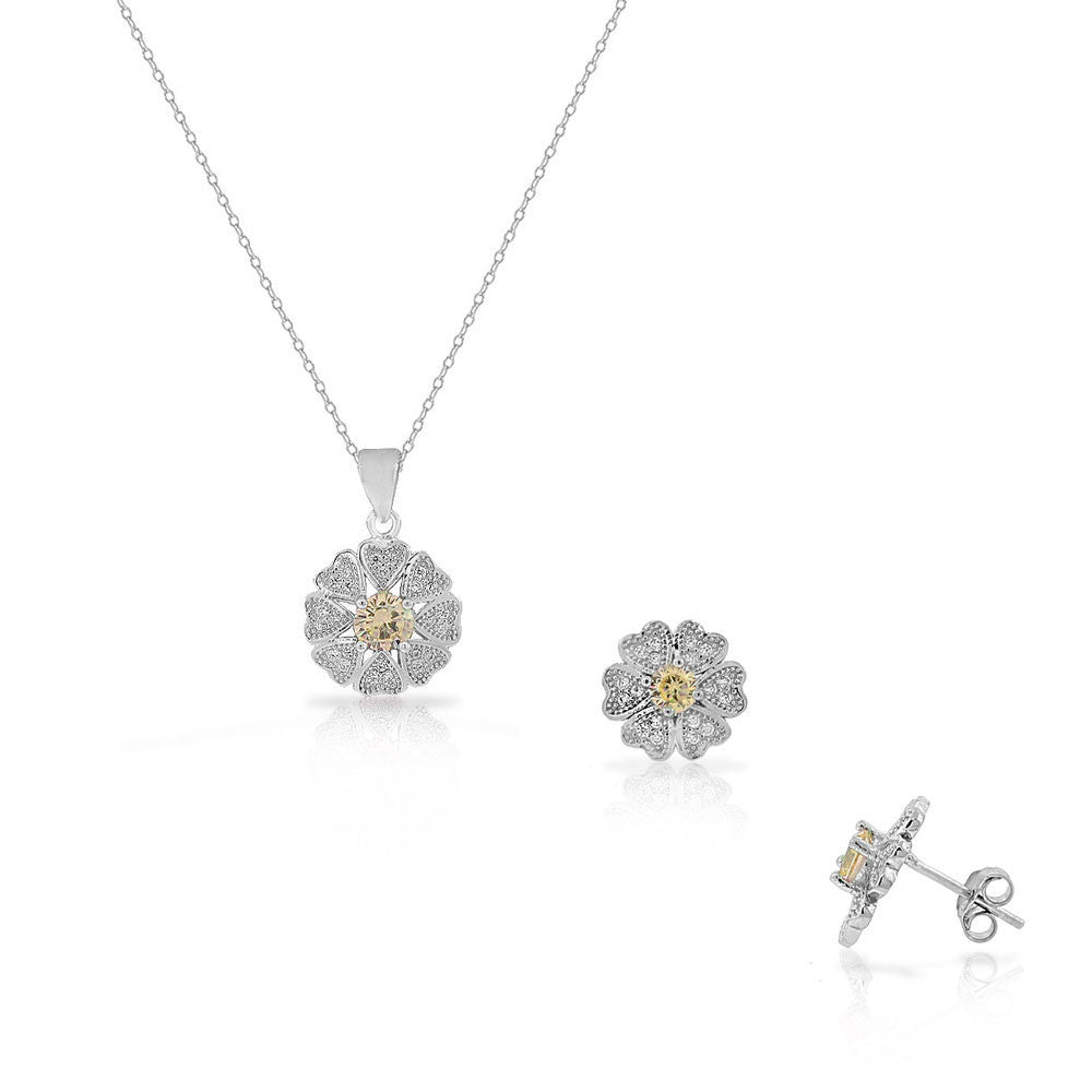 925 Sterling Silver White Brown CZ Love Heart Flower Stud Earrings Pendant Necklace Set