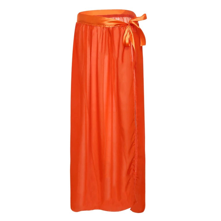 'Zara' Chiffon Orange Maxi Skirt