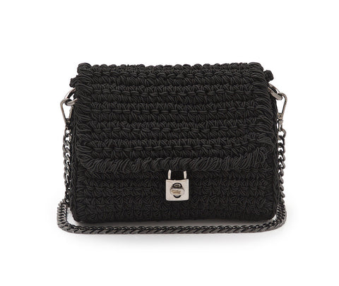 Crochet 'Lock' Crossbody Bag