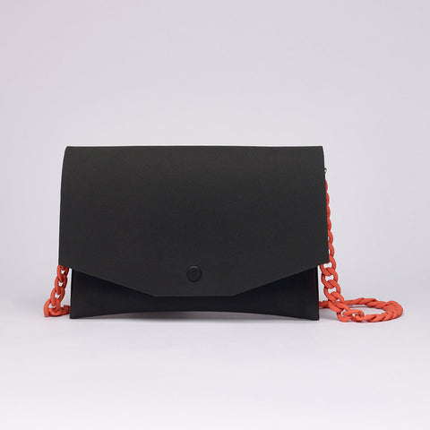 BLACK / ORANGE CLUTCH