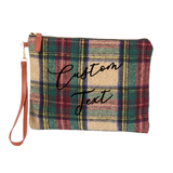 Custom Text Beige and Green Plaid Clutch Bag