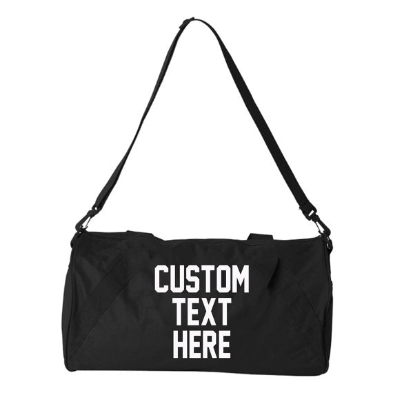 Custom Text Duffel Bag With Strap