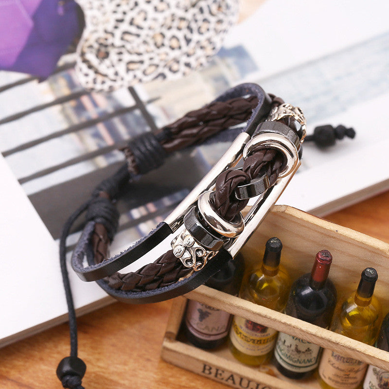 Retro Style Beaded Multilayer Leather Bracelet