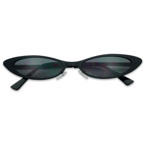 TINY 90'S NARROW OVAL FLAT METAL CAT EYE SUNGLASSES