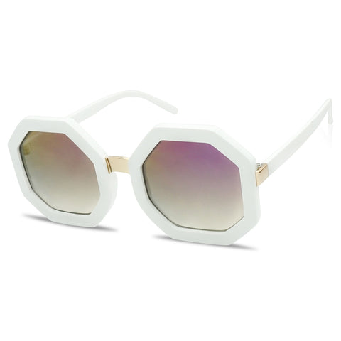 FASHION BOLD OCTAGON FLASH MIRRORED SUNGLASSES