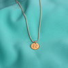 Initial Circle Necklace Gold