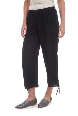 Fenini Mesh Hem Cropped Pants, Black