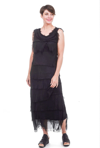 Oro Bonito Tattered Tiers Long Dress, Black One Size Black