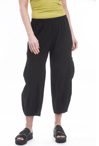 Fenini Side Pocket Crop Pants, Black