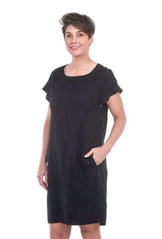 Fenini Easy Linen Short Dress, Black