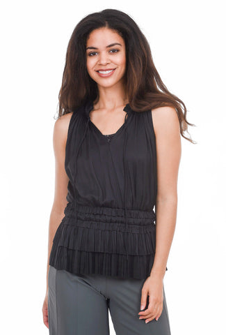 Current Air S/L Pleated Romance Blouse, Black