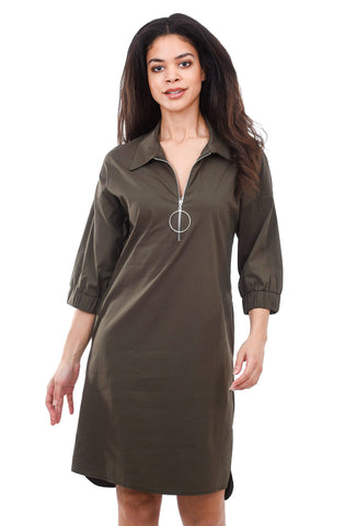 Lauren Vidal Zipper Placket Shirtdress, Khaki