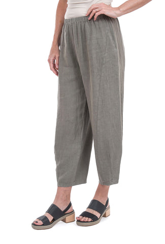 Fenini Pleat Cropped Linen Pant, Vine
