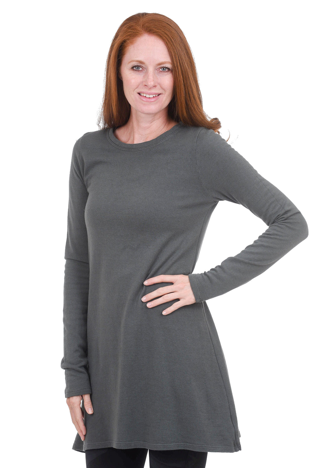 CP Shades French-Terry Mercedes Tunic, Iron Gray